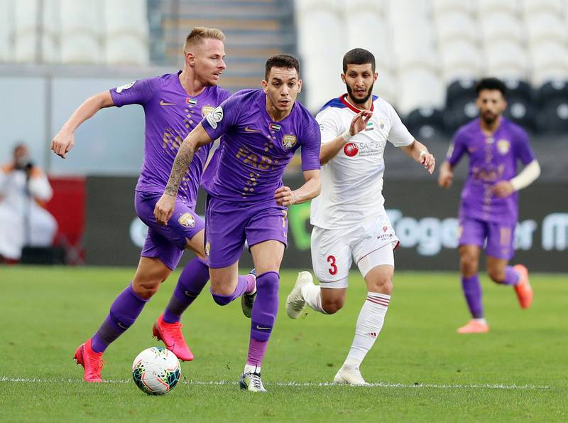 Abu Dhabi, United Arab Emirates - Reporter: John McAuley: Caio of Al Ain gets ahead of his markers in the game between Sharjah and Al Ain in the PresidentÕs Cup semi-final. Tuesday, March 10th, 2020. Mohamed bin Zayed Stadium, Abu Dhabi. Chris Whiteoak / The National