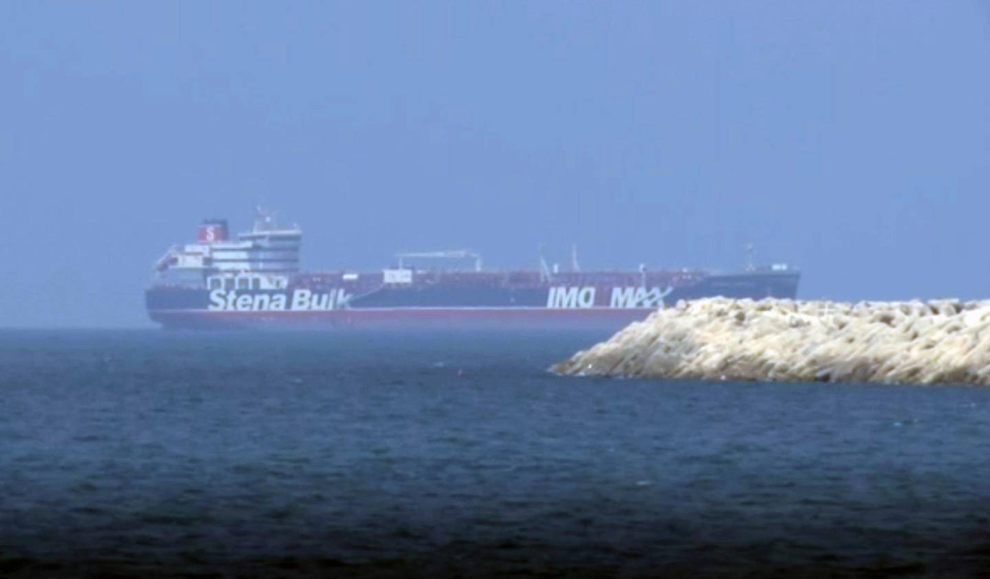 In this image made from video, the British-flagged oil tanker Stena Impero is seen outside Port Rashid in Dubai, United Arab Emirates, Saturday, Sept. 28, 2019.  On Friday, Iran released the Stena Impero which it had seized in July as it passed through the Strait of Hormuz, the narrow mouth of the Persian Gulf through which 20% of all oil passes. The ship set sail from Iran Friday morning, arriving at an anchorage outside Dubai's Port Rashid in the United Arab Emirates just before midnight. (AP Photo)