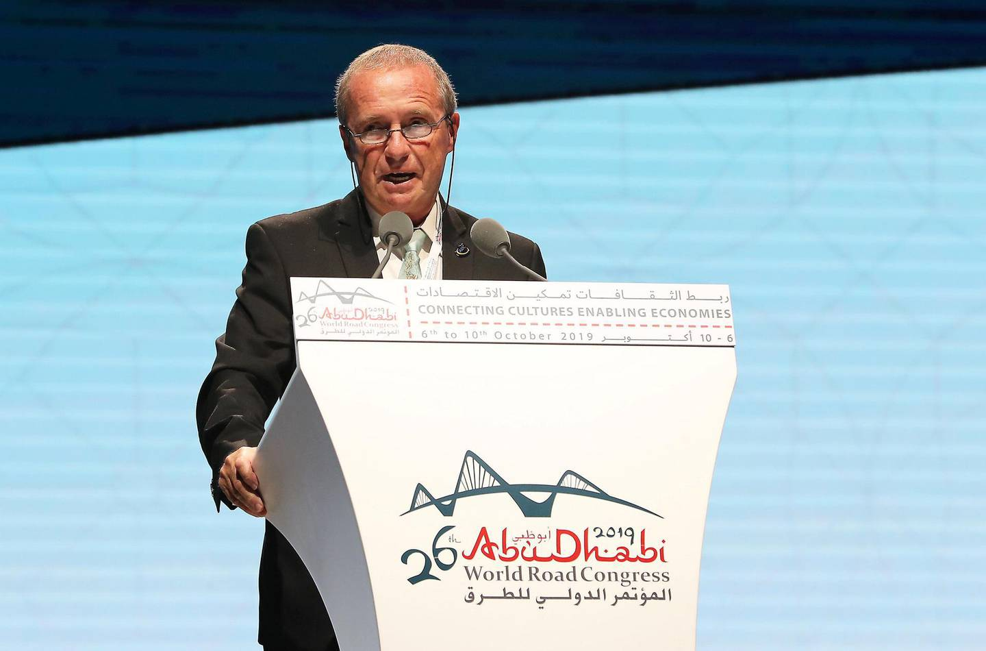 ABU DHABI,  UNITED ARAB EMIRATES , OCTOBER 6 – 2019 :- Claude Van Rooten , President of PIARC speaking during the opening ceremony of the 26th World Road Congress held at Abu Dhabi National Exhibition Center in Abu Dhabi. ( Pawan Singh / The National ) For News. Story by Patrick
