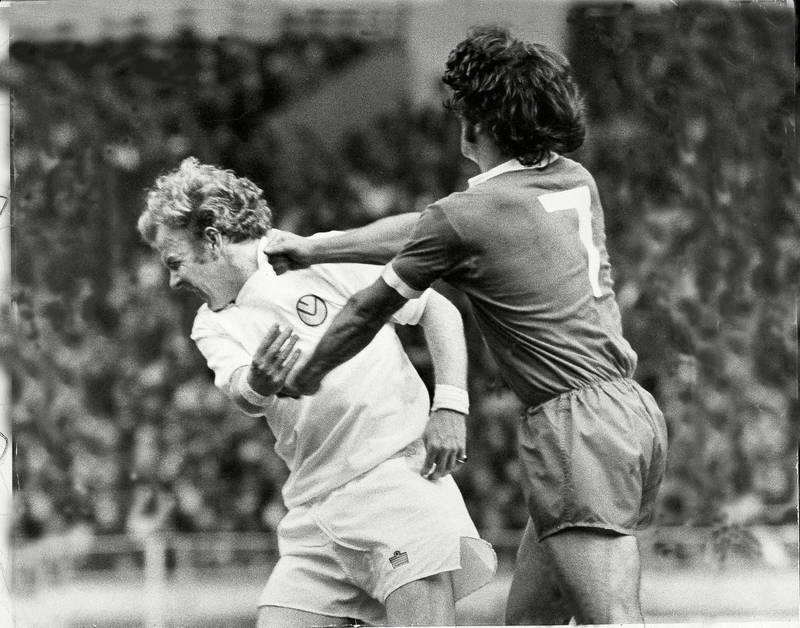Mandatory Credit: Photo by Monty Fresco/Daily Mail/Shutterstock (1026660a)Action From The 1974/75 F.a Charity Shield Between Leeds United And Liverpool Played At Wembley Stadium . Liverpools Kevin Keegan Squares Up To Leeds United's Billy Bremner And Lands A Right To The Jaw. Action From The 1974/75 F.a Charity Shield Between Leeds United And Liverpool Played At Wembley Stadium . Liverpools Kevin Keegan Squares Up To Leeds United's Billy Bremner And Lands A Right To The Jaw.