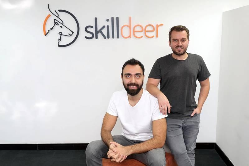 Dubai, United Arab Emirates - October 29, 2018: Orkun Gedik (L), COO and Philipp Tachas, CEO are the two founders of Skilldeer an online skills development company. Monday, October 29th, 2018 JLT, Dubai. Chris Whiteoak / The National