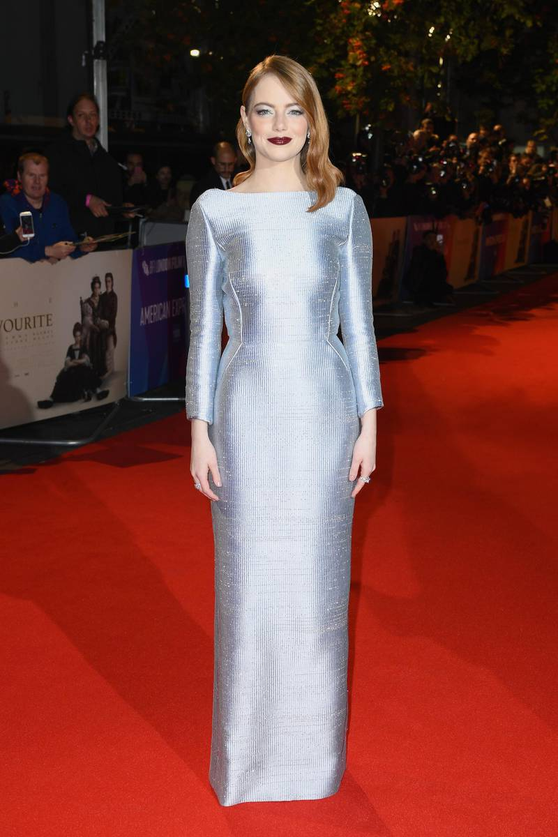 """LONDON, ENGLAND - OCTOBER 18: Emma Stone attends the UK Premiere of """"The Favourite"""" & American Express Gala at the 62nd BFI London Film Festival on October 18, 2018 in London, England.  (Photo by Gareth Cattermole/Getty Images for BFI)"""
