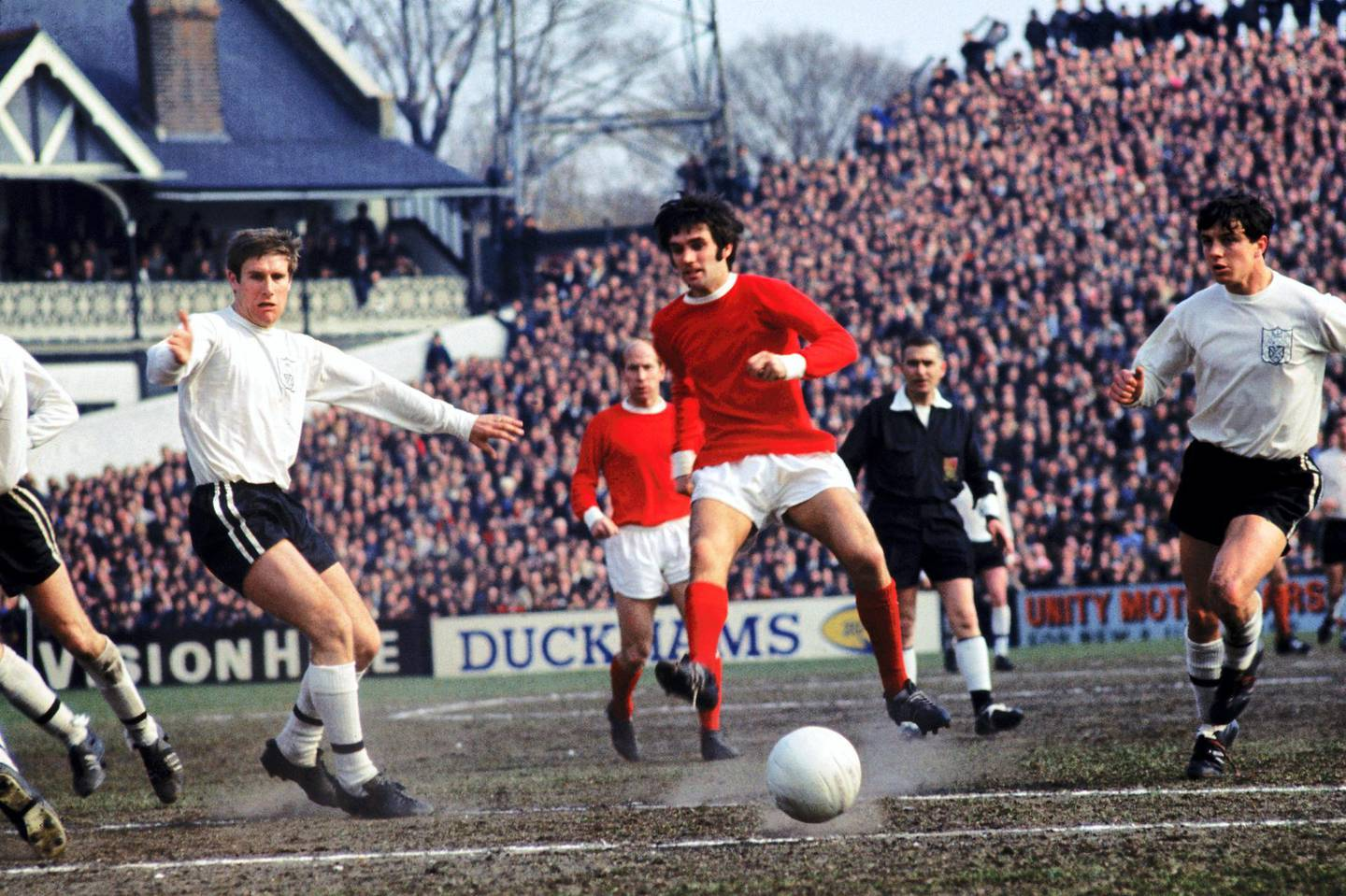 George Best, Manchester United in action against FulhamNo Use UK. No Use Ireland. No Use Belgium. No Use France. No Use Germany. No Use Japan. No Use China. No Use Norway. No Use Sweden. No Use Denmark. No Use Holland