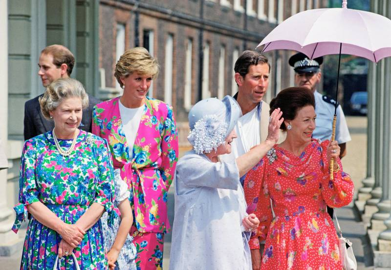 LONDON, UNITED KINGDOM - AUGUST 04:  Left To Right: Prince Edward, The Queen, Princess Diana, The Queen Mother, Prince Charles And Princess Margaret Outside Clarence House On The Queen Mother's 90th Birthday.  (Photo by Tim Graham Photo Library via Getty Images)