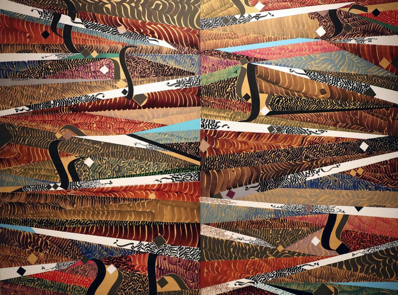 Sharjah, United Arab Emirates - November 04, 2019: Carpet of Letters. Sharjah Calligraphy Museum opens new exhibition ÔMusic of LettersÕ, artwork by Bahman Panahi. Monday the 4th of November 2019. Sharjah. Chris Whiteoak / The National