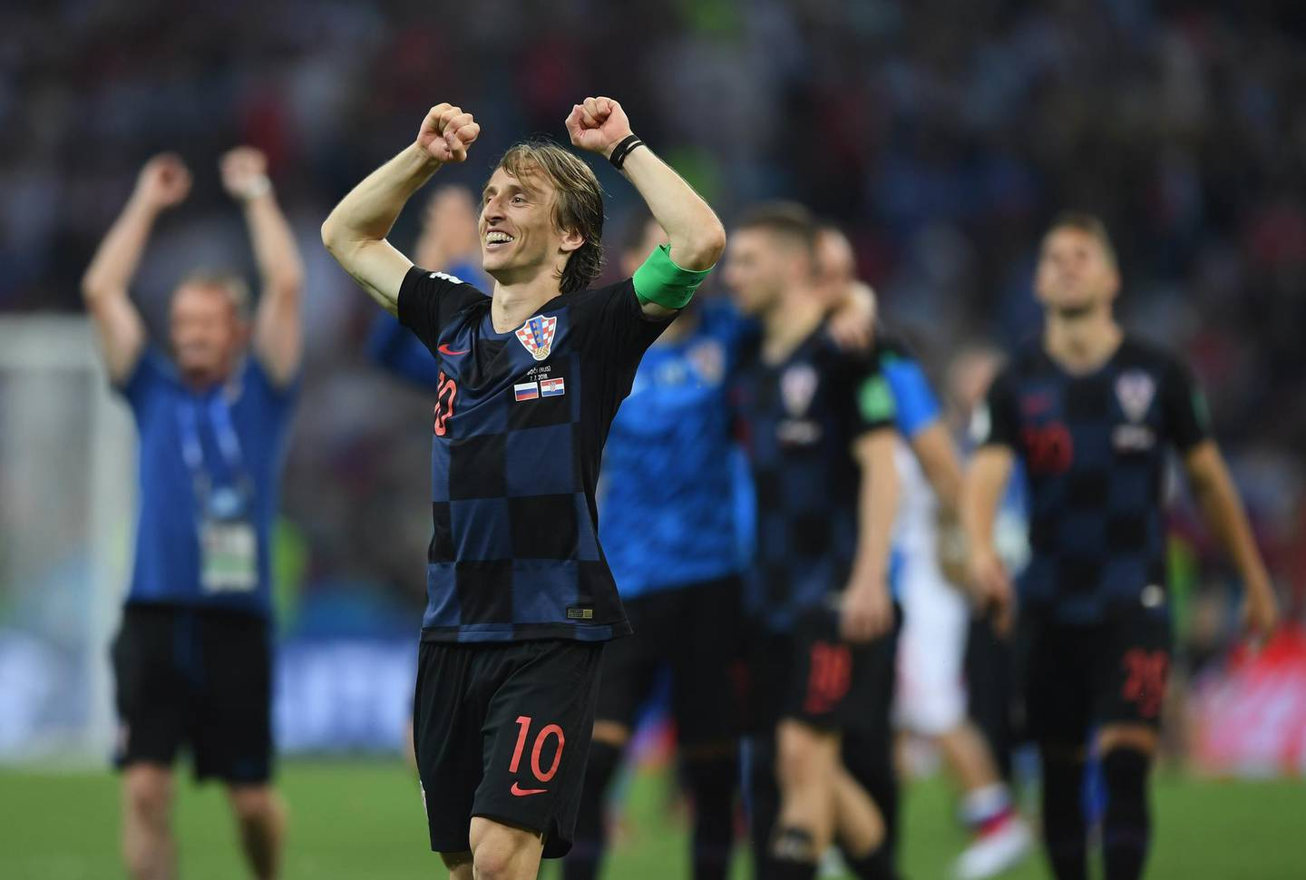 SOCHI, RUSSIA - JULY 07:  Luka Modric of Croatia celebrates following their sides victory during the 2018 FIFA World Cup Russia Quarter Final match between Russia and Croatia at Fisht Stadium on July 7, 2018 in Sochi, Russia.  (Photo by Shaun Botterill/Getty Images)