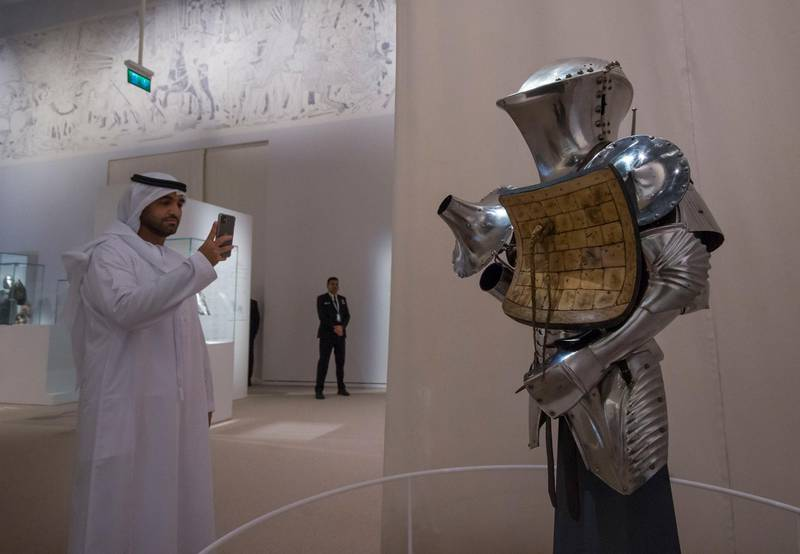 Abu Dhabi, United Arab Emirates- A knights' armour at Furusiyya The Art of Chivalry between East and West, which draws links between knightly traditions of Europe and the Middle East at Louvre Abu Dhabi.  Leslie Pableo for The National