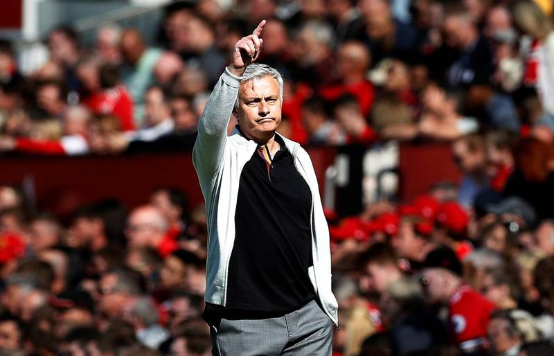 """Soccer Football - Premier League - Manchester United vs Watford - Old Trafford, Manchester, Britain - May 13, 2018   Manchester United manager Jose Mourinho during the match   REUTERS/Darren Staples    EDITORIAL USE ONLY. No use with unauthorized audio, video, data, fixture lists, club/league logos or """"live"""" services. Online in-match use limited to 75 images, no video emulation. No use in betting, games or single club/league/player publications.  Please contact your account representative for further details."""
