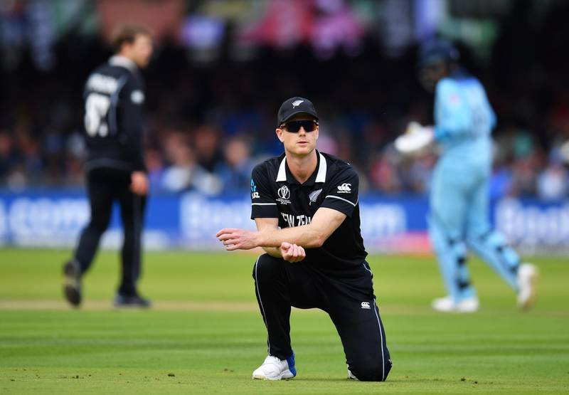 LONDON, ENGLAND - JULY 14: Jimmy Neesham of New Zealand reacts during the Final of the ICC Cricket World Cup 2019 between New Zealand and England at Lord's Cricket Ground on July 14, 2019 in London, England. (Photo by Clive Mason/Getty Images)