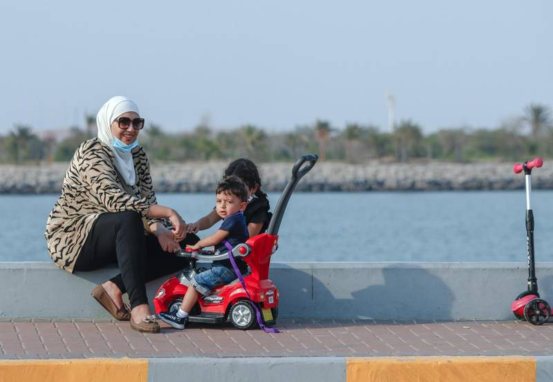Abu Dhabi, United Arab Emirates, August 14, 2020.  The UAE flag area at the Corniche is slowly getting more and more active as Covid-19 restrictions ease.Victor Besa /The NationalSection:  NAFor:  Standalone/Stock Images