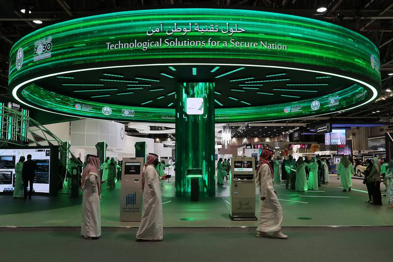 DUBAI, UNITED ARAB EMIRATES, December 7 – Visitors at the Kingdom of Saudi Arabia stand on the second day of GITEX Technology Week held at Dubai World Trade Centre in Dubai. (Pawan Singh / The National) For News/Online. Story by Kelly