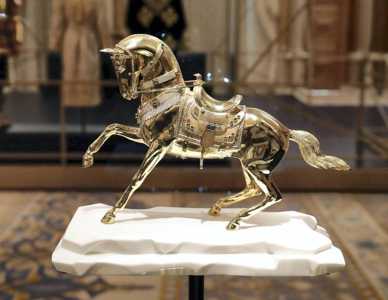 Abu Dhabi, United Arab Emirates - March 11, 2019: A Sculpture of a horse from from Turkmenistan in the Presidential gifts room. Exclusive preview and guided tour of Qasr Al Watan, the UAEÕs new cultural landmark. Monday the 11th of March 2019 at Qasr Al Watan, Abu Dhabi. Chris Whiteoak / The National