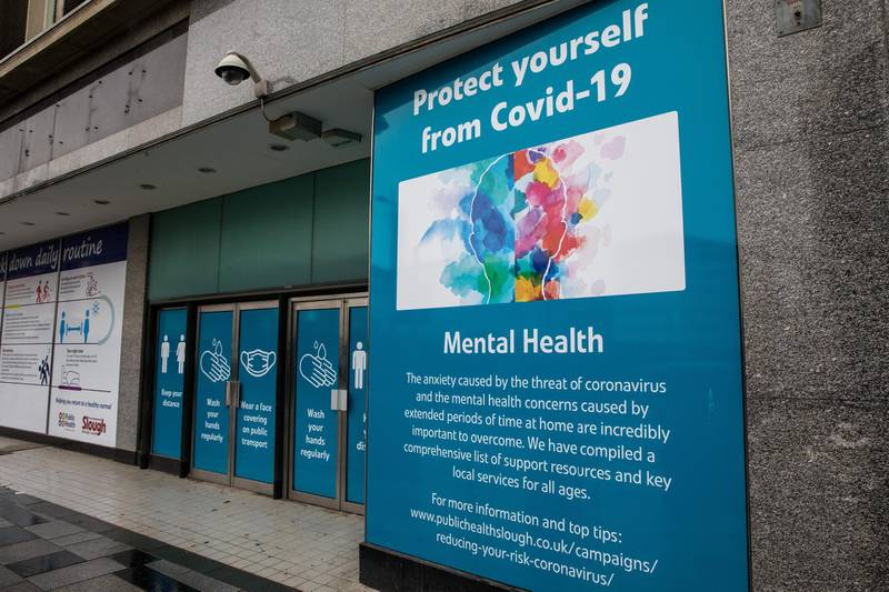 A public information display offering support to counter the mental health aspects of COVID-19 and the preventative lockdown is pictured on 4 October 2020 in Slough, United Kingdom. Slough Borough Council confirmed on 2nd October that its coronavirus infection rate is the highest in the south of England and Slough MP Tan Dhesi asked Health Secretary Matt Hancock in Parliament whether the local test centre in Montem Lane could be reverted to permit walk-in and drive-in visits without an appointment. (photo by Mark Kerrison/In Pictures via Getty Images)