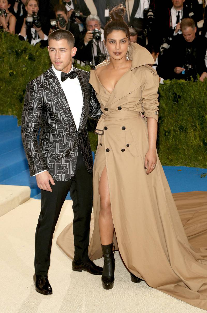 epa06956576 (FILE) - US musician Nick Jonas (L) and Indian actress Priyanka Chopra arrive on the red carpet for the Metropolitan Museum of Art Costume Institute's benefit celebrating the opening of the exhibit 'Rei Kawakubo/Comme des Garons: Art of the In-Between' in New York, New York, USA, 01 May 2017 (reissued 18 August 2018). According to media reports, Nick Jonas and Indian actress Priyanka Chopra announced their engagement on social media.  EPA-EFE/JUSTIN LANE