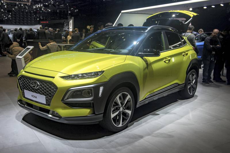GENEVA, SWITZERLAND - MARCH 06: Hyundai Kona is displayed at the 88th Geneva International Motor Show on March 6, 2018 in Geneva, Switzerland. Global automakers are converging on the show as many seek to roll out viable, mass-production alternatives to the traditional combustion engine, especially in the form of electric cars. The Geneva auto show is also the premiere venue for luxury sports cars and imaginative prototypes. (Photo by Robert Hradil/Getty Images)