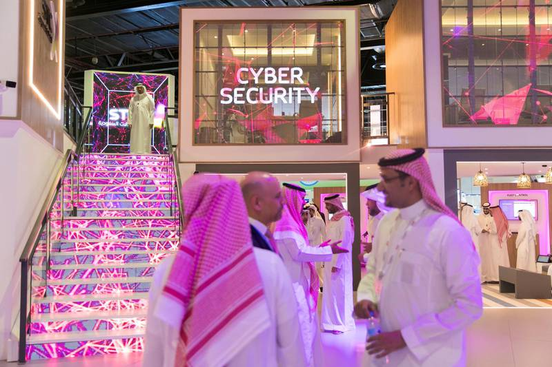 DUBAI, UNITED ARAB EMIRATES - OCTOBER 14, 2018.   Saudi Telecom, STC, booth in Gitex Technology Week at DWTC.  (Photo by Reem Mohammed/The National)  Reporter:  Section:  NA