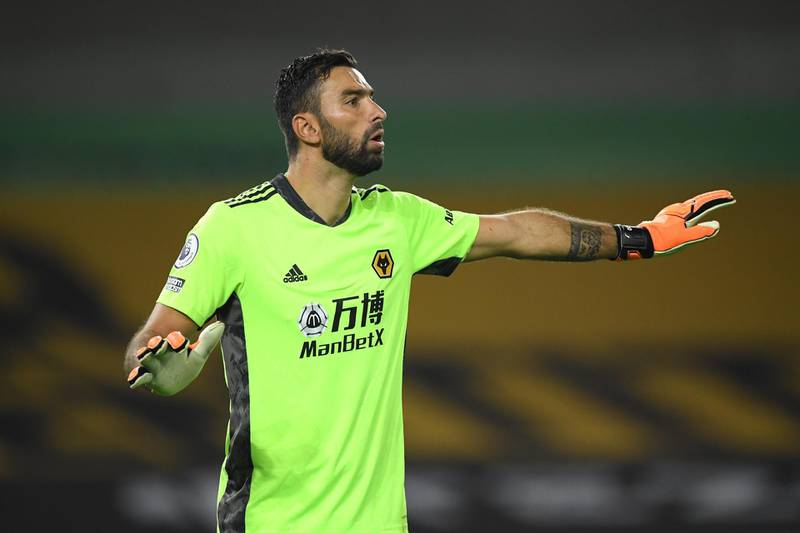 WOLVERHAMPTON, ENGLAND - SEPTEMBER 21: Wolves goalkeeper Rui Patricio reacts during the Premier League match between Wolverhampton Wanderers and Manchester City at Molineux on September 21, 2020 in Wolverhampton, England. (Photo by Stu Forster/Getty Images)