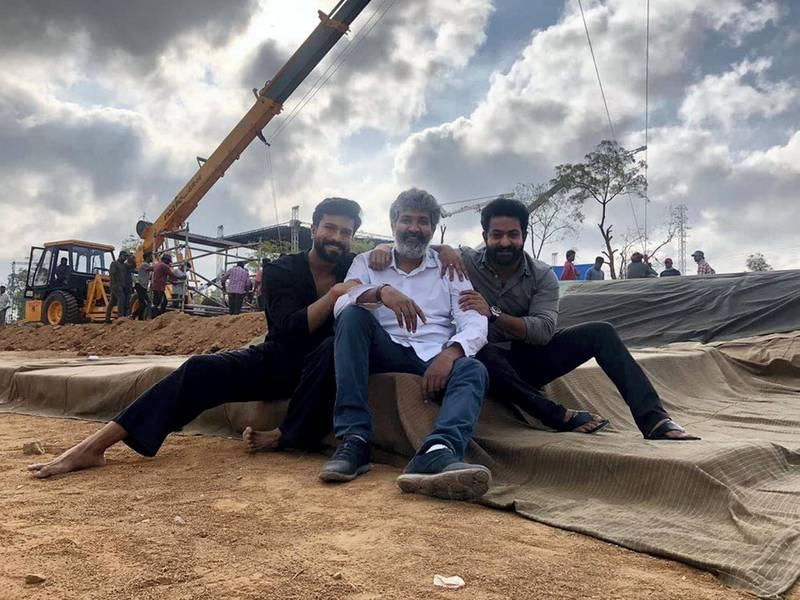 S.S. Rajamouli, N.T. Rama Rao Jr., and Ram Charan in RRR (2021) IMDb