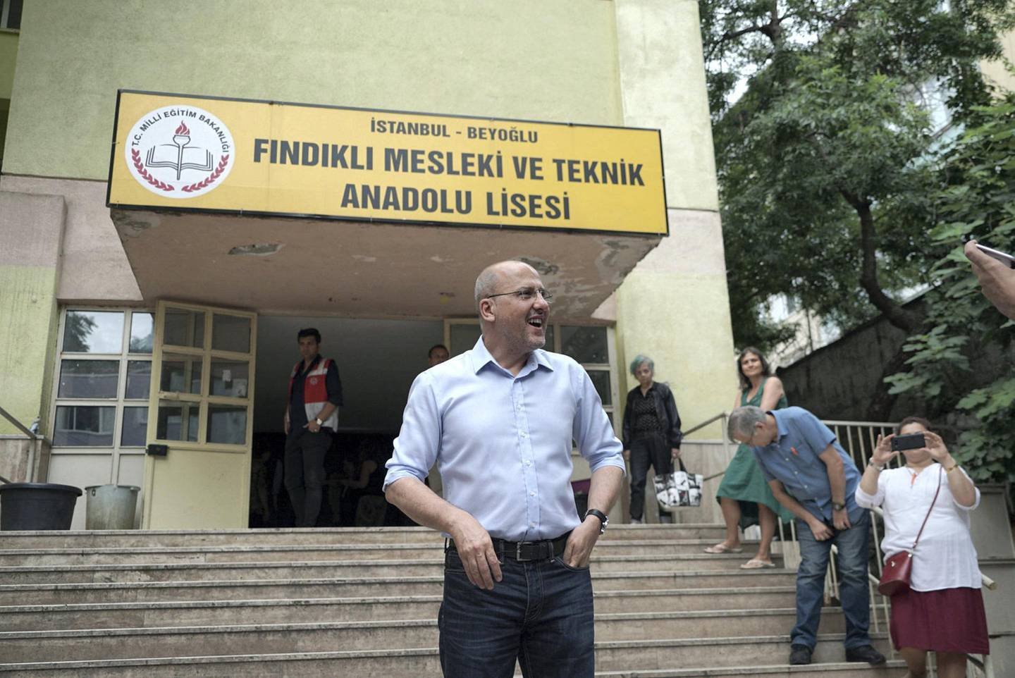 Ahmet Şık, parliamentary candidate for the Pro - Kurdish HDP party, votes in Istanbul. Photo by Shawn Carrie