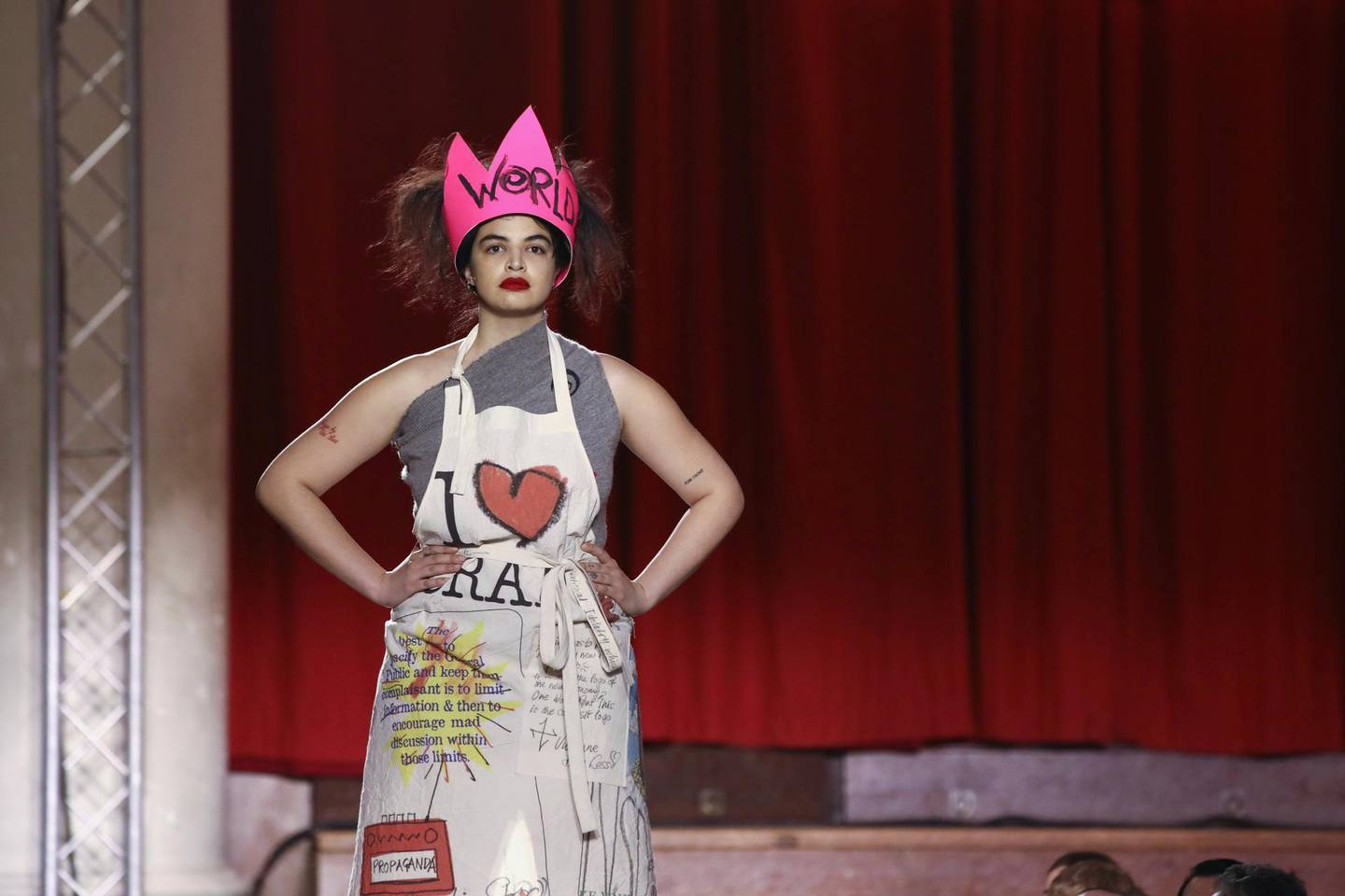 A model wears a creation by designer Vivienne Westwood at the Autumn/Winter 2019 fashion week show in London, Sunday, Feb. 17, 2019.(Photo by Grant Pollard/Invision/AP)
