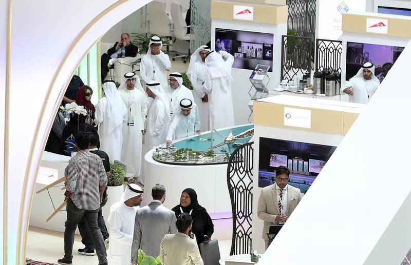 ABU DHABI,  UNITED ARAB EMIRATES , OCTOBER 6 – 2019 :- Delegates at the UAE stand during the 26th World Road Congress exhibition held at Abu Dhabi National Exhibition Center in Abu Dhabi. ( Pawan Singh / The National ) For News. Story by Patrick