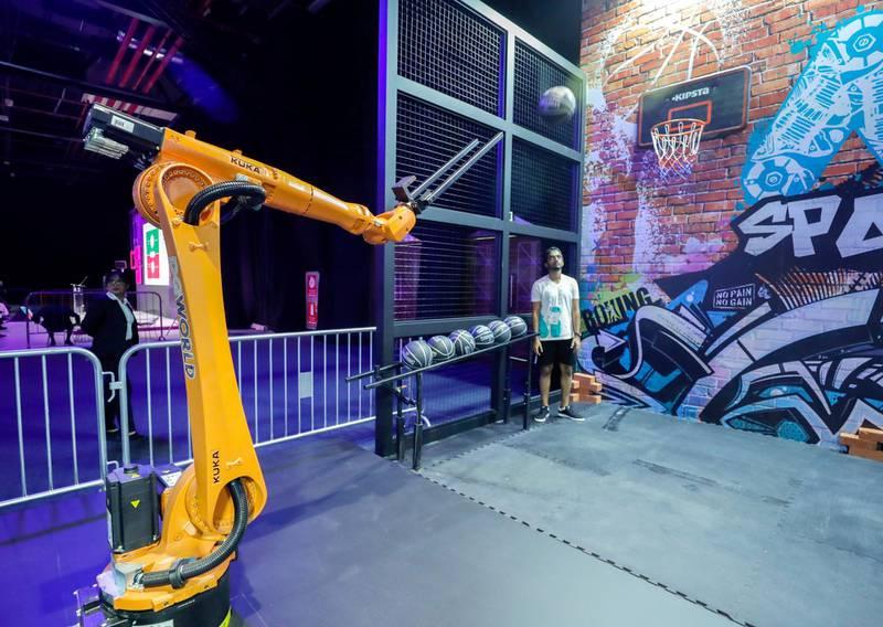 Dubai, April 30, 2019.  Ai Everything show at the Dubai World Trade Centre.--  The GP World baketball robotic arm takes a shot.Victor Besa/The NationalSection:  NAReporter:  P. Ryan and A. Sharma