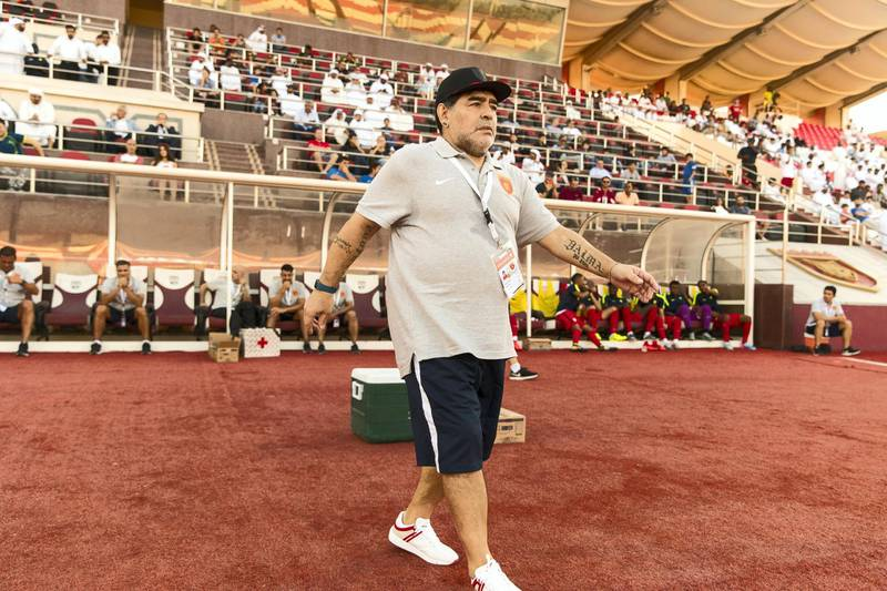 Fujairah, United Arab Emirates, November 4, 2017:    Diego Maradona, head coach of Fujairah football club, while playing against Al Orouda during their UAE first division regular season match at the Fujairah stadium in Fujairah on November 4, 2017. Christopher Pike / The National  Reporter: John McAuley Section: Sport
