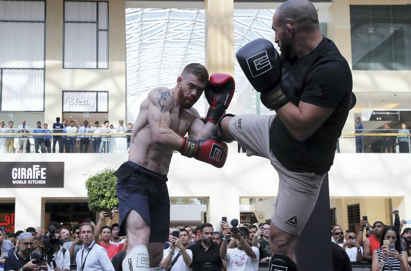 ABU DHABI ,  UNITED ARAB EMIRATES , SEPTEMBER 4 – 2019 :- Paul Felder during the UFC Open Workout session held at The Yas Mall in Abu Dhabi. ( Pawan Singh / The National ) For Sports/Online/Instagram. Story by John