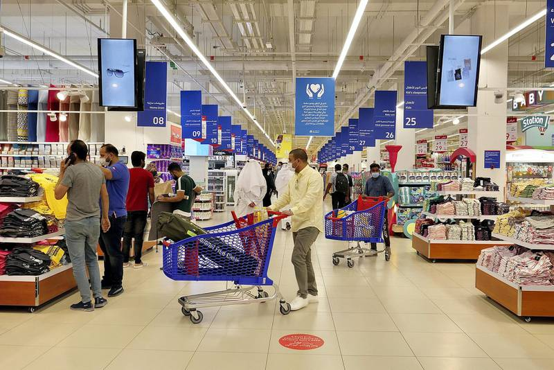 SHARJAH, UNITED ARAB EMIRATES , March 15, 2021 – Carrefour market at the newly opened Al Zahia City Centre in Sharjah. (Pawan Singh / The National) For LifeStyle/Online/Instagram. Story by Janice Rodrigues