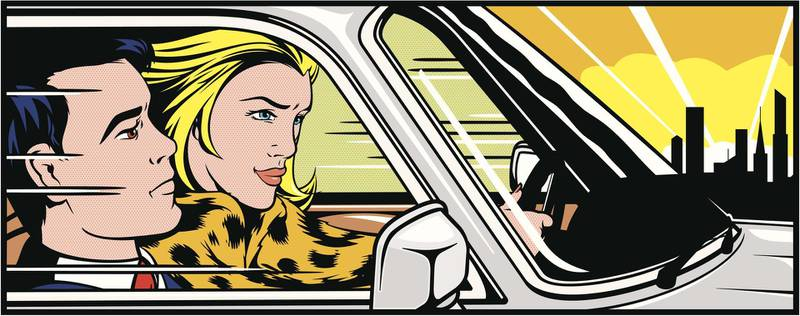 Role reversal version of Roy Lichtensteins 'In The Car'. Woman driving a car with a male passenger. Getty Images