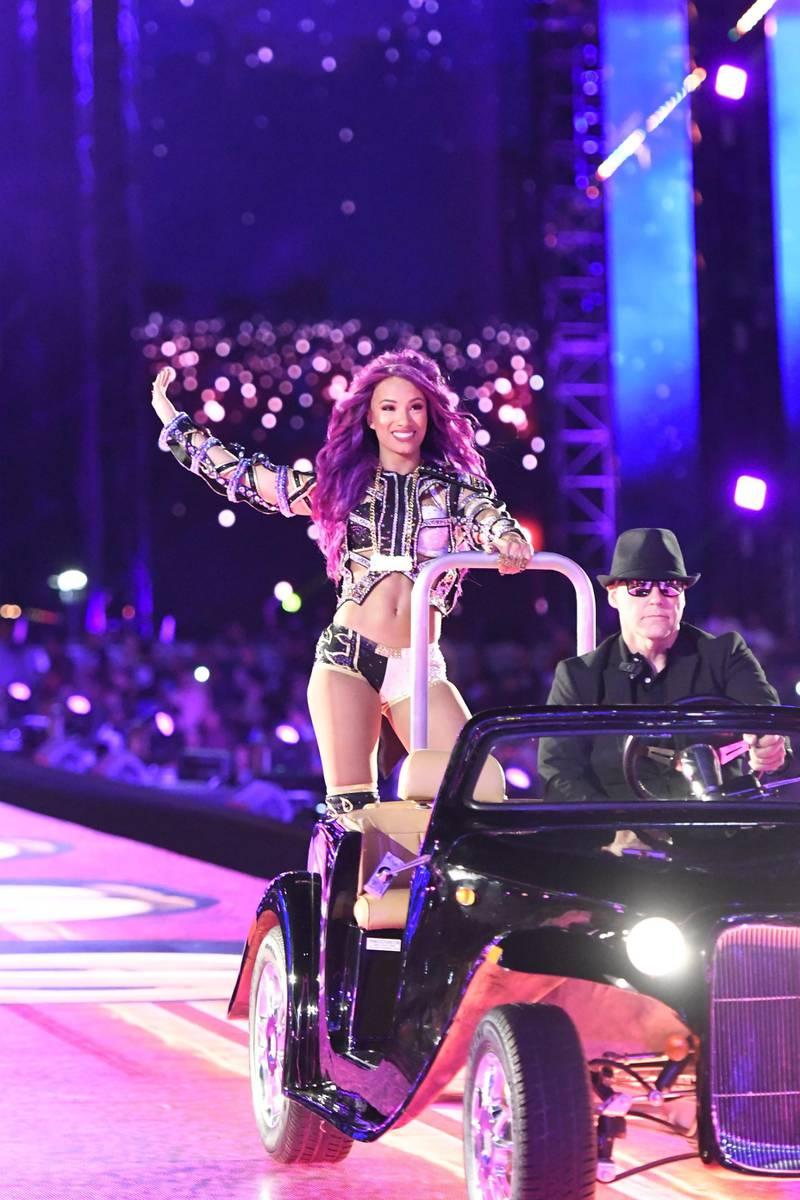 MAR 31, 2017, Orlando, FL:  WWE Superstars New Day showoff the  WrestleMania stadium reveal. © 2017 Craig Melvin/WWE