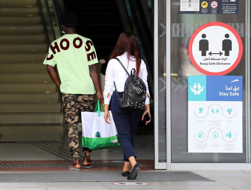 Dubai, United Arab Emirates - Reporter: N/A. News. Covid-19/Coronavirus. People enter Emirates Towers metro station with Covid-19 precautions. Saturday, October 10th, 2020. Dubai. Chris Whiteoak / The National