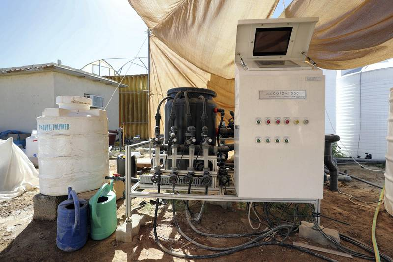 Sharjah, United Arab Emirates - Reporter: Sarwat Nasir. News. Food. A machine designed to distribute nutrients to the plants at a rice farm, as part of research by the ministry to enhance UAEÕs food security. Sharjah. Monday, January 11th, 2021. Chris Whiteoak / The National