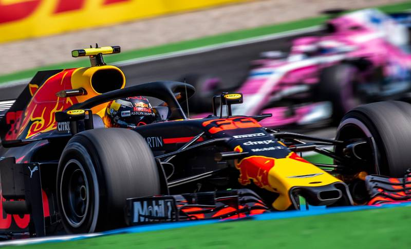 epa06900287 Dutch Formula One driver Max Verstappen of Aston Martin Red Bull Racing in action during the first practice session at the Hockenheimring in Hockenheim, Germany, 20 July 2018. The 2018 Formula One Grand Prix of Germany will take place on 22 July.  EPA/SRDJAN SUKI