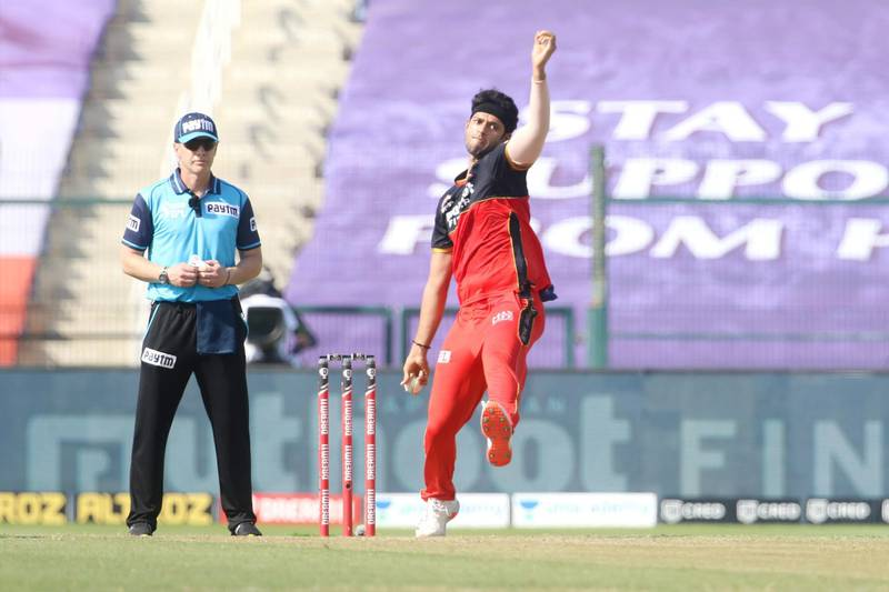 Shivam Dube of Royal Challengers Bangalore bowls during match 15 of season 13 of the Dream 11 Indian Premier League (IPL) between the Royal Challengers Bangalore and the Rajasthan Royals at the Sheikh Zayed Stadium, Abu Dhabi in the United Arab Emirates on the 3rd October 2020.  Photo by: Vipin Pawar  / Sportzpics for BCCI