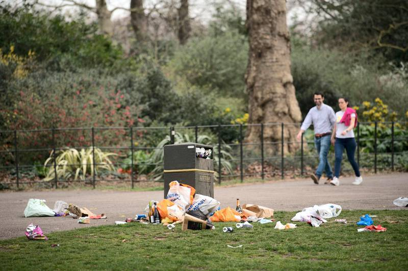 Bins overflow with rubbish in Battersea Park in south London after yesterday's record breaking warm weather. Picture date: Wednesday March 31, 2021. The UK may be about to experience its hottest March on record with temperatures forecast to soar to around 25C (77F). (Photo by Stefan Rousseau/PA Images via Getty Images)
