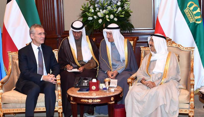"""Handout photo released by Kuna on December 16, 2019 shows the Emir of Kuwait Sheikh Sabah al-Ahmad al-Jaber al-Sabah (R) meeting with NATO Secretary General Jens Stoltenberg at Bayan Palace in Kuwait City.  === RESTRICTED TO EDITORIAL USE - MANDATORY CREDIT """"AFP PHOTO / HO / KUNA"""" - NO MARKETING NO ADVERTISING CAMPAIGNS - DISTRIBUTED AS A SERVICE TO CLIENTS ===  / AFP / KUNA / - /  === RESTRICTED TO EDITORIAL USE - MANDATORY CREDIT """"AFP PHOTO / HO / KUNA"""" - NO MARKETING NO ADVERTISING CAMPAIGNS - DISTRIBUTED AS A SERVICE TO CLIENTS ==="""