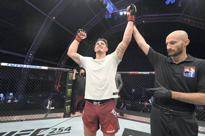 ABU DHABI, UNITED ARAB EMIRATES - OCTOBER 11:  Tom Aspinall of England celebrates his victory over Alan Baudot of France in their heavyweight bout during the UFC Fight Night event inside Flash Forum on UFC Fight Island on October 11, 2020 in Abu Dhabi, United Arab Emirates. (Photo by Josh Hedges/Zuffa LLC via Getty Images)