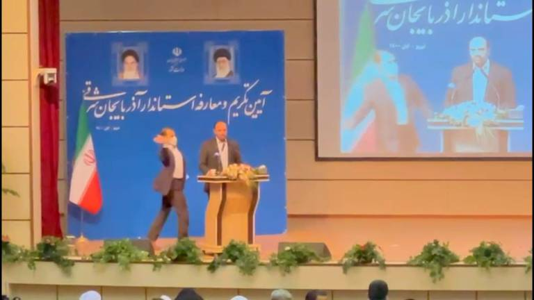 An image that illustrates this article Iranian governor slapped during inauguration ceremony