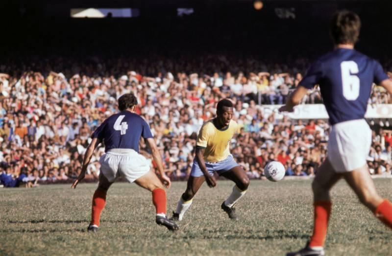 (Original Caption) Rio de Janeiro, Brazil: Football king Pele played his last game for the Brazilian national team at Maracana Stadium.