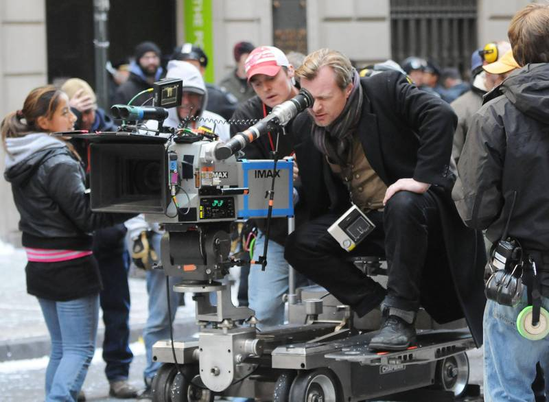 """NEW YORK, NY - NOVEMBER 06: (ITALY OUT, NY DAILY NEWS OUT, NY NEWSDAY OUT)  Christopher Nolan is seen on the set of """"The Dark Knight Rises"""" movie on November 6, 2011 in New York City.  (Photo by Arnaldo Magnani/Getty Images)"""