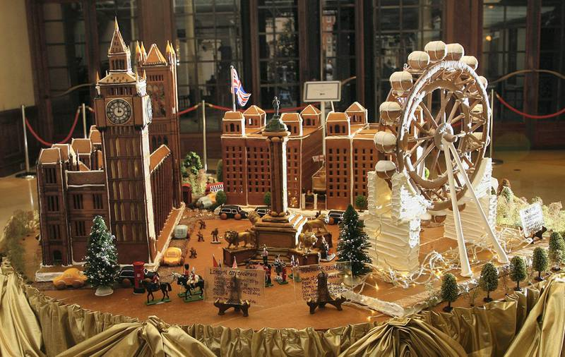 LONDON - DECEMBER 04:  A gv of a gingerbread Houses of Parliment and London Eye creation by Chef Beate Woellstein at the Grosvenor House Hotel on December 4, 2007 in London, England. The creation is 2.5 diameters and used 50 kilos of gingerbread dough.  (Photo by Gareth Cattermole/Getty Images)