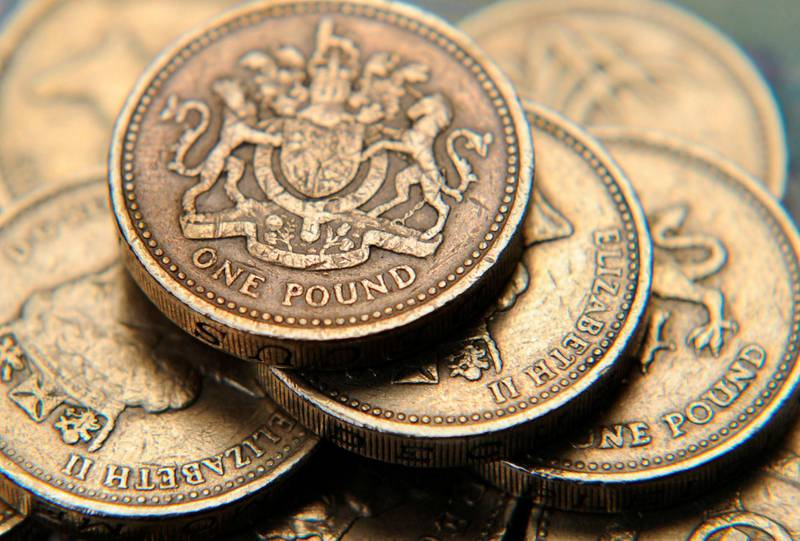 FILE PHOTO: A pile of one pound coins is seen in a photo illustration shot June 17, 2008.  REUTERS/Toby Melville/Illustration/File Photo