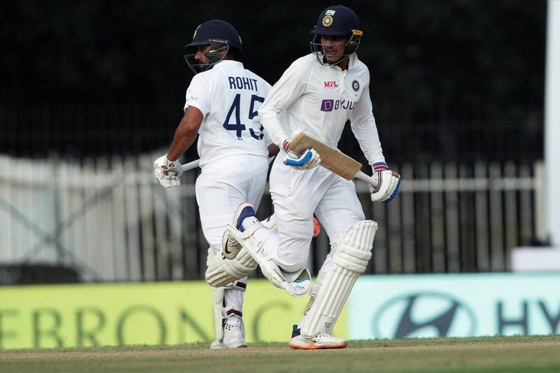 Rohit Sharma of India and Shubman Gill of India taking a single during day four of the first test match between India and England held at the Chidambaram Stadium stadium in Chennai, Tamil Nadu, India on the 8th February 2021  Photo by Saikat Das/ Sportzpics for BCCI