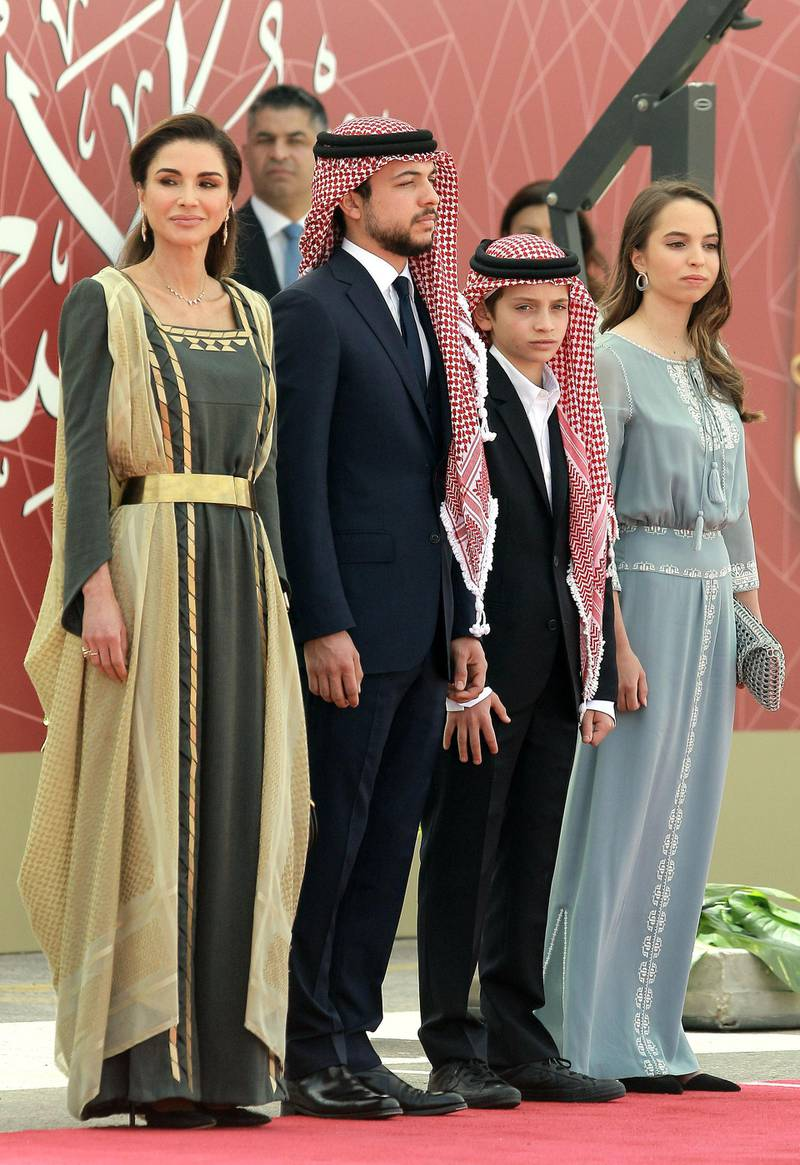 (L to R) Queen Rania of Jordan and her children Crown Prince Hussein, Prince Hashem, and Princess Salma, attend a ceremony held in Amman on May 25, 2019, to celebrate the country's 73th Independence Day.  / AFP / Khalil MAZRAAWI