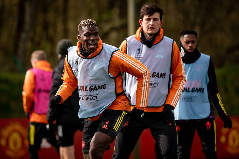 MANCHESTER, ENGLAND - APRIL 07:  Paul Pogba of Manchester United reacts during a first team training session at Aon Training Complex on April 7, 2021 in Manchester, England. (Photo by Ash Donelon/Manchester United via Getty Images)