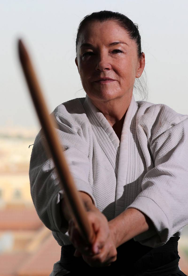 Dubai, United Arab Emirates - July 20, 2019: Cathy Darnell is the only female Aikido instructor in Dubai and is a 4th dan, she has the oldest dojo in the country, Zanshinkan Aikido club Dubai is celebrating our 25th anniversary in 2020. Saturday the 20th of July 2019. Al Barsha, Dubai. Chris Whiteoak / The National