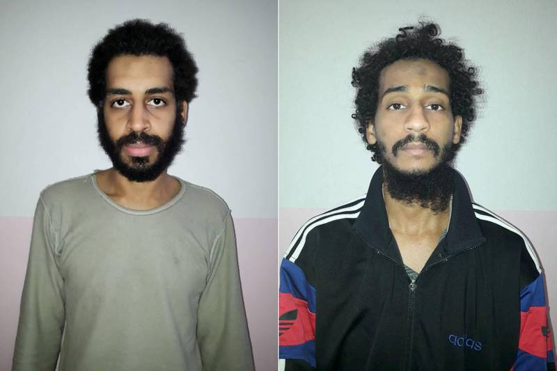 FILE PHOTO: A combination picture shows Alexanda Kotey and Shafee Elsheikh, who the Syrian Democratic Forces (SDF) claim are British nationals, in these undated handout pictures in Amouda, Syria released February 9, 2018. Syrian Democratic Forces/Handout via REUTERS  - ATTENTION EDITORS - THIS IMAGE HAS BEEN SUPPLIED BY A THIRD PARTY/File Photo