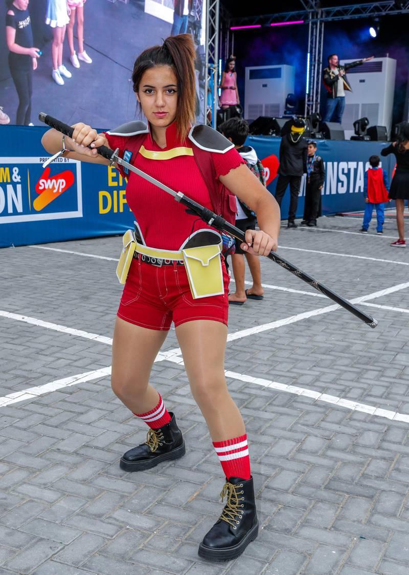 Dubai, April 12, 2019.  MEFCC day 2-Comic Con goers at full swing on day 2.  Sofi Vasyleva as Momo Yaoyorozu from Baku No Hero Academia.Victor Besa/The National.Section:  AC  Reporter:  Chris Newbould