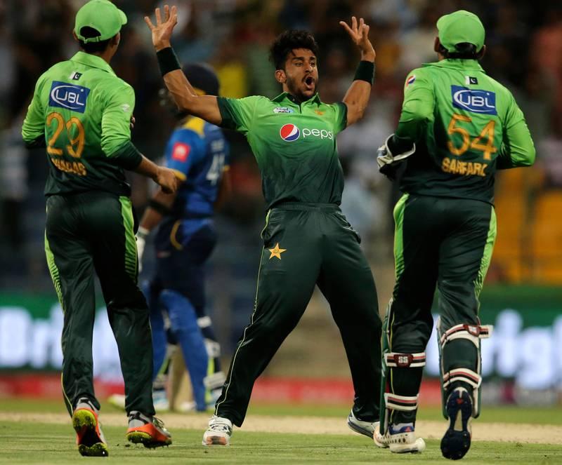 Pakistan's Hassan Ali celebrates dismissal of Sri Lanka's Sachith Pathirana during their first T20I cricket match in Abu Dhabi, United Arab Emirates, Thursday, Oct. 26, 2017. (AP Photo/Kamran Jebreili)